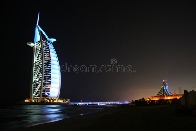 ноча Дубай burj al арабская стоковое фото rf