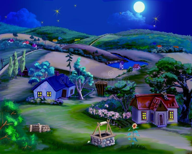 Ноча лета сказки в деревне иллюстрация вектора
