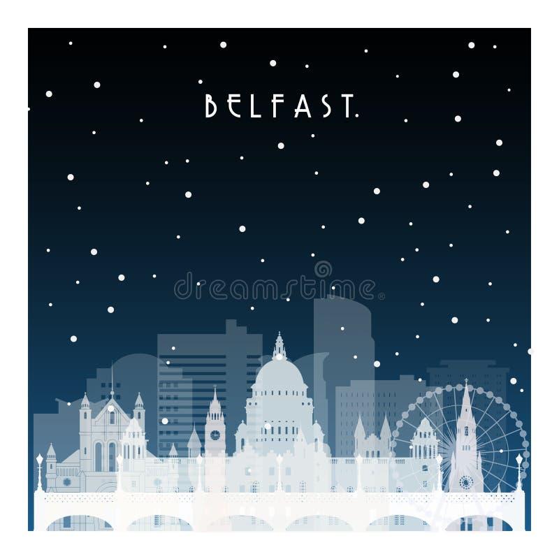 Ноча зимы в Белфасте иллюстрация штока