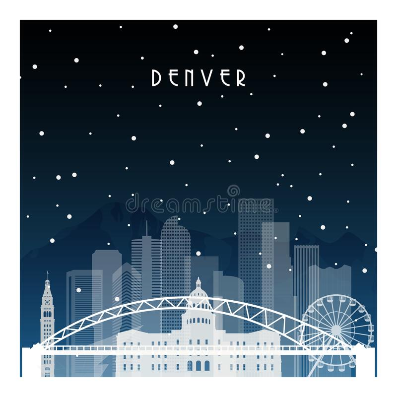 Ноча зимы в Денвере иллюстрация вектора