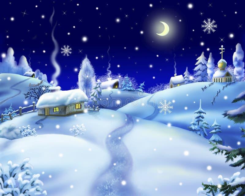 Ноча зимы в деревне бесплатная иллюстрация