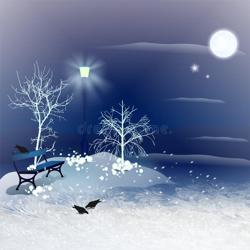 Ноча зимы бесплатная иллюстрация