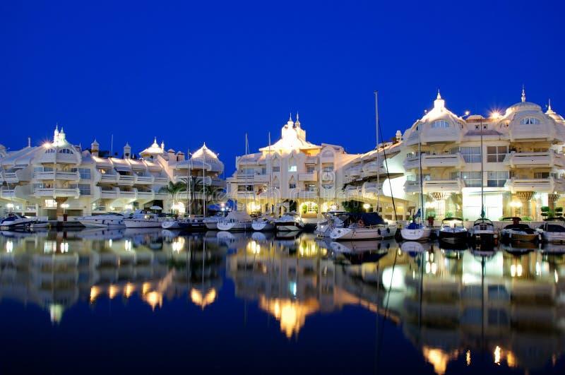ноча Испания Марины benalmadena зоны стоковая фотография