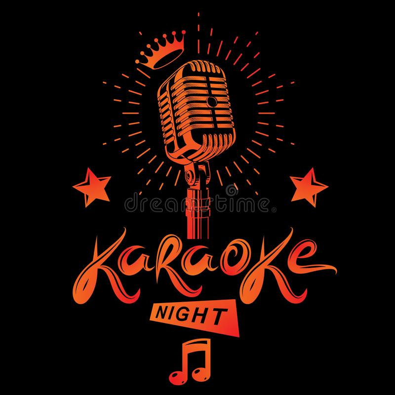 Ноча караоке и discotheque ночного клуба vector плакат приглашения бесплатная иллюстрация