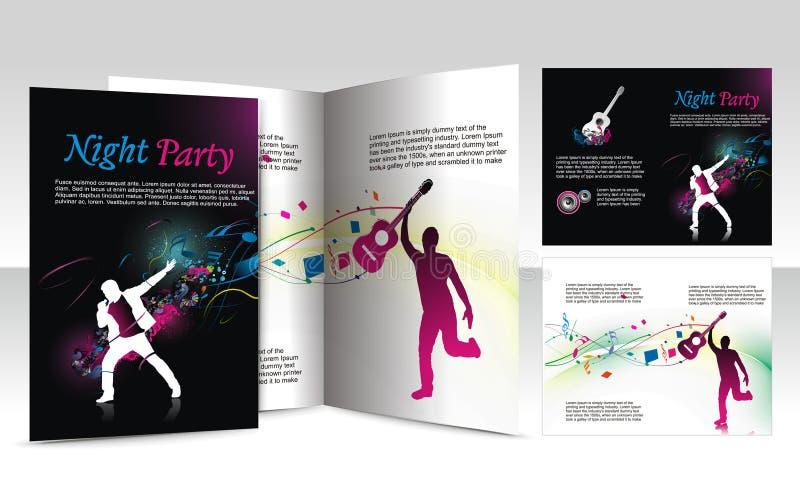 ноча конструкции клуба брошюры иллюстрация вектора