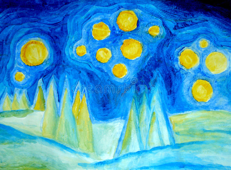 ноча ландшафта бесплатная иллюстрация