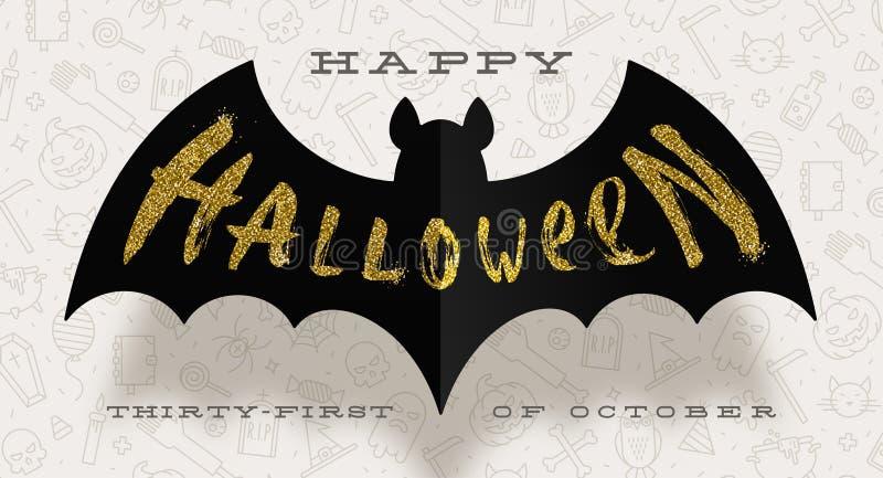 ноча луны иллюстрации halloween Приветствие золота яркого блеска на силуэте черной бумажной летучей мыши, против предпосылки с ли иллюстрация штока