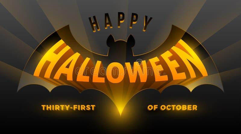 ноча луны иллюстрации halloween Силуэт летучей мыши с трехмерным приветствием хеллоуина иллюстрация вектора