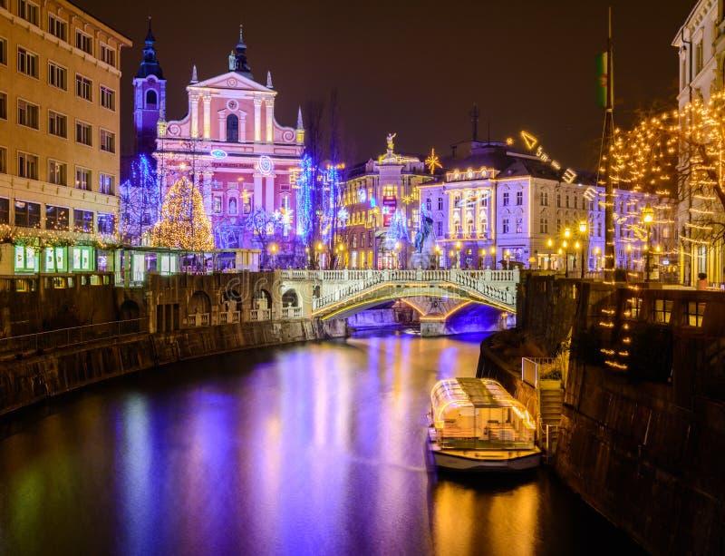 Ноча Любляны стоковые изображения