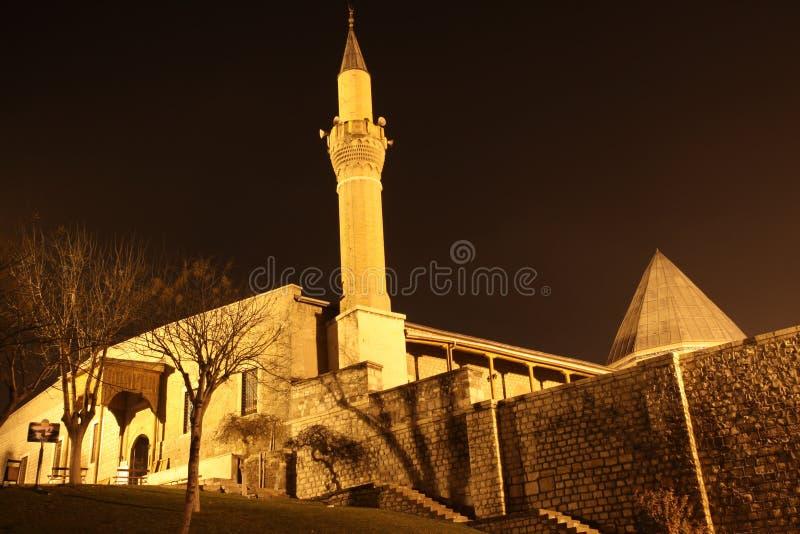 ноча мечети konya alaeddin стоковое фото