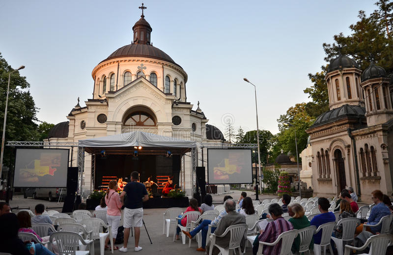 Ноча музеев в Бухаресте - музее Bellu стоковая фотография rf