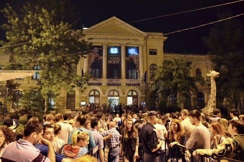 Ноча музеев в Бухаресте - Национальный музей естественной истории «Grigore Antipa» стоковые фото