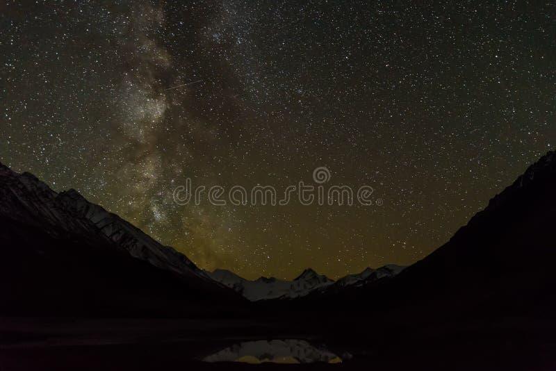 Ноча неба отражения гор озера млечного пути звезды стоковое фото