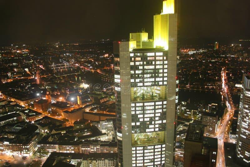 ноча немца frankfurt города стоковое изображение