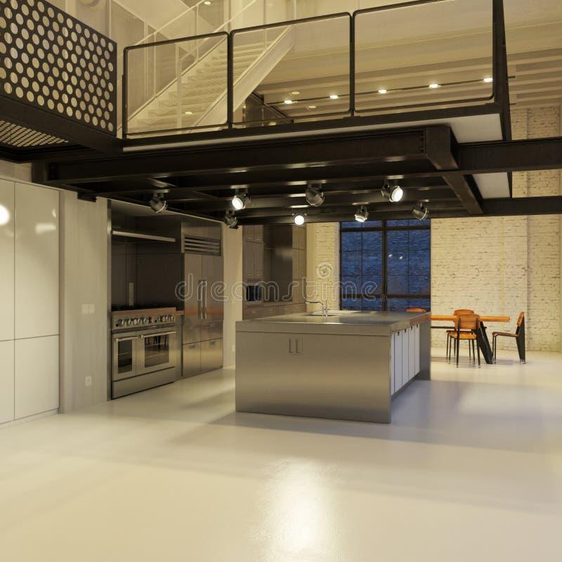 ноча просторной квартиры кухни самомоднейшая бесплатная иллюстрация