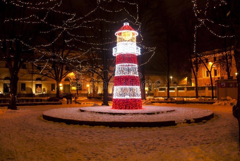 Ноча Рига Рождество стоковое изображение rf