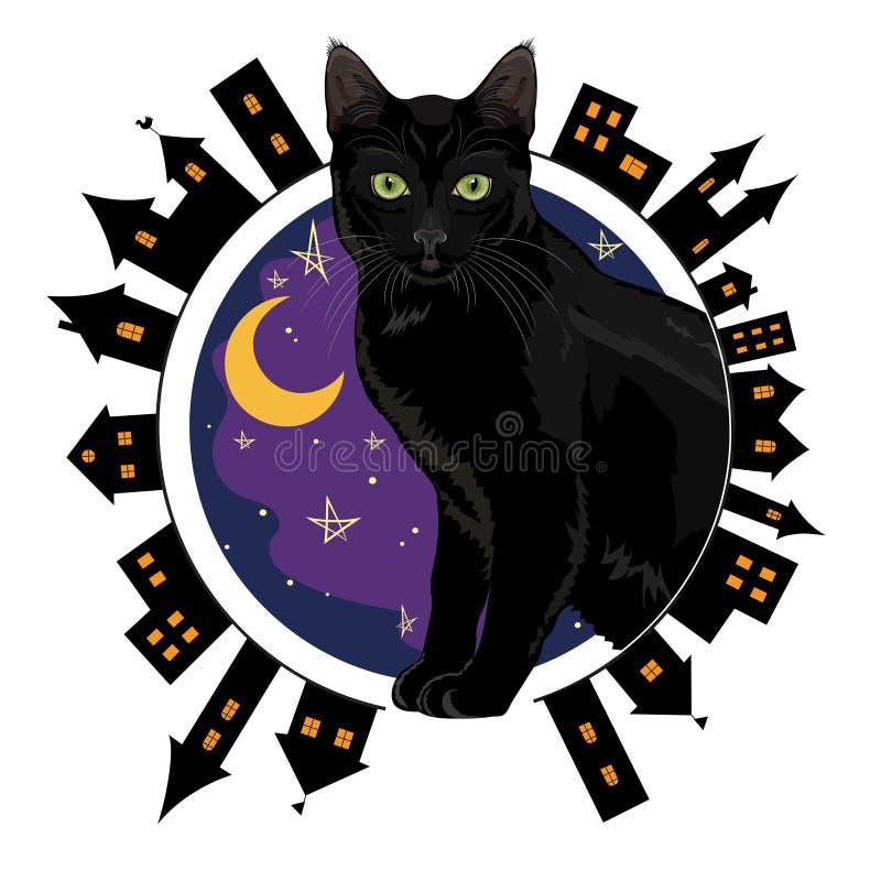 Ноча старый городок и чернота зелен-наблюдали кот сидя на предпосылке неба звездной ночи иллюстрация штока