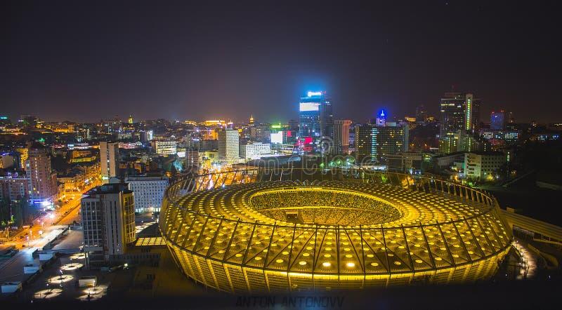 Ноча стадиона Украины Киева olimpiyskiy стоковое изображение rf