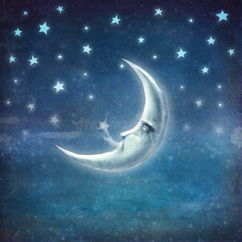 ноча луны играет главные роли время иллюстрация вектора