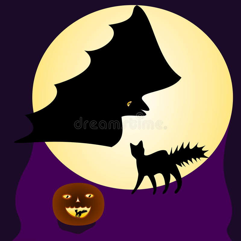 ноча луны иллюстрации halloween иллюстрация вектора