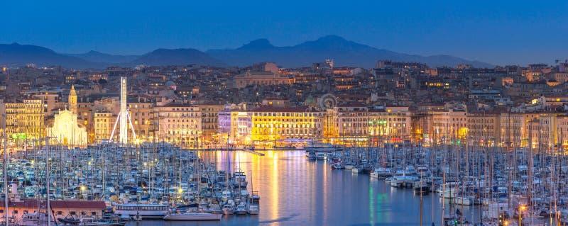 Ноча Франции марселя стоковые фотографии rf
