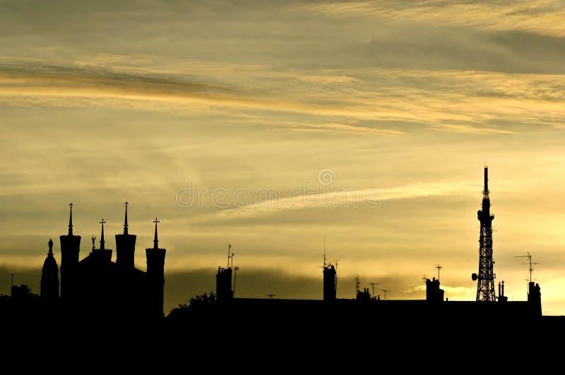 ноча Франции lyon стоковое фото rf