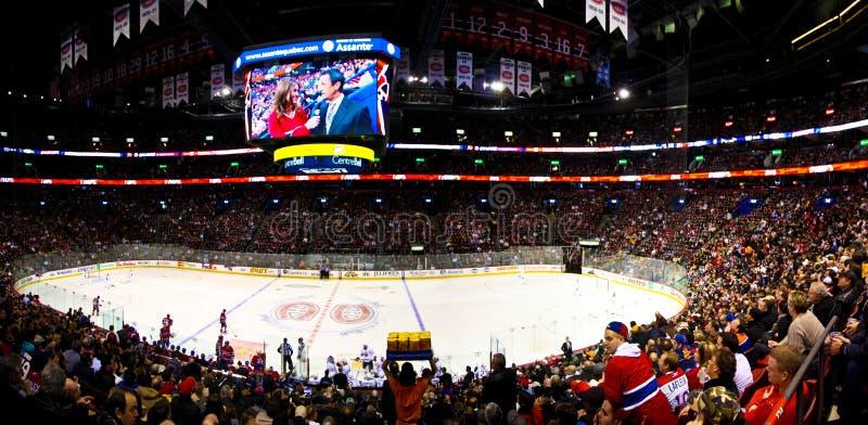 ноча хоккея Канады панорамная стоковое изображение