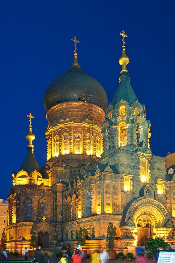Ноча церков Софии Святого Харбина стоковое фото