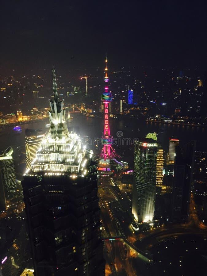 Ноча Шанхая стоковое изображение rf