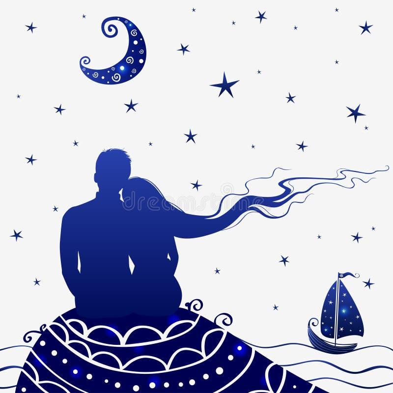 Ноча любовников иллюстрация вектора