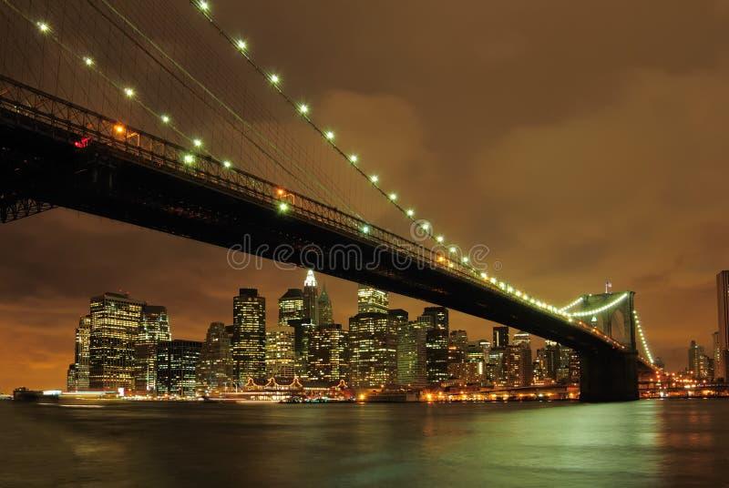 ноча brooklyn моста стоковые фото