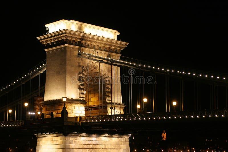 ноча budapest моста стоковое изображение rf