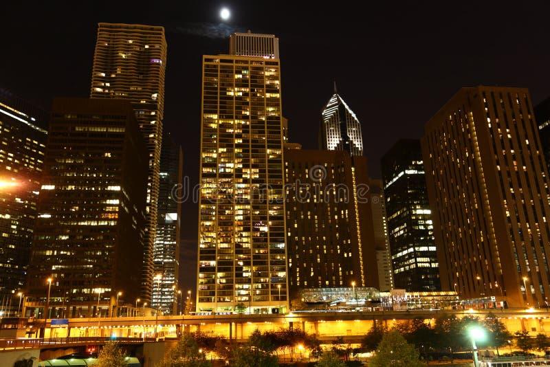 ноча chicago стоковое фото rf
