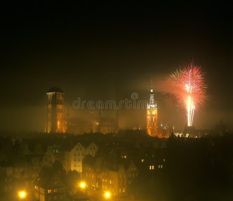 ноча gdansk стоковая фотография rf
