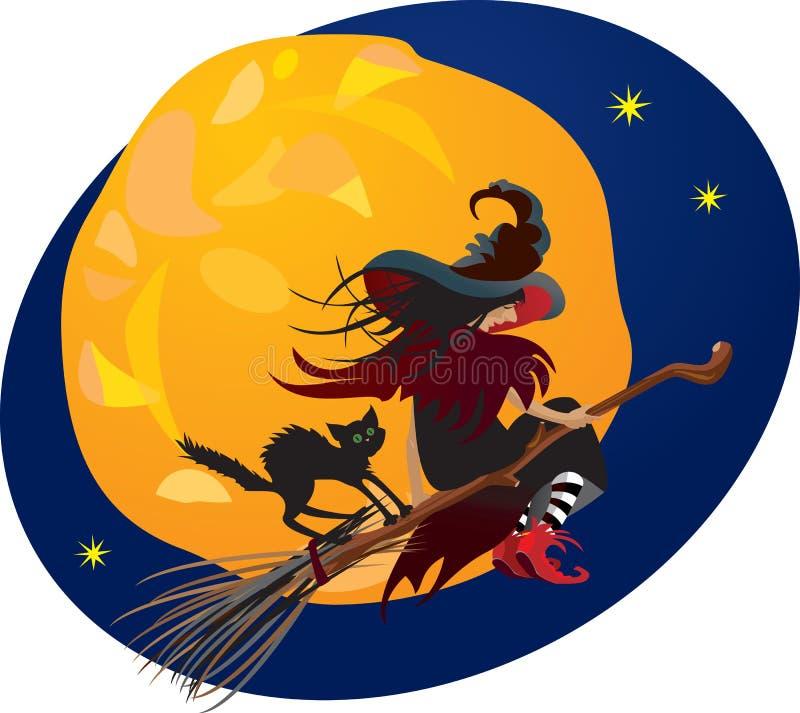 Ноча Halloween: ведьма и черный кот иллюстрация вектора
