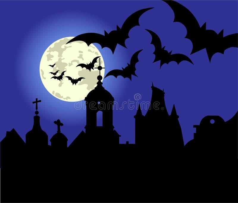 Ноча Halloween в городке бесплатная иллюстрация