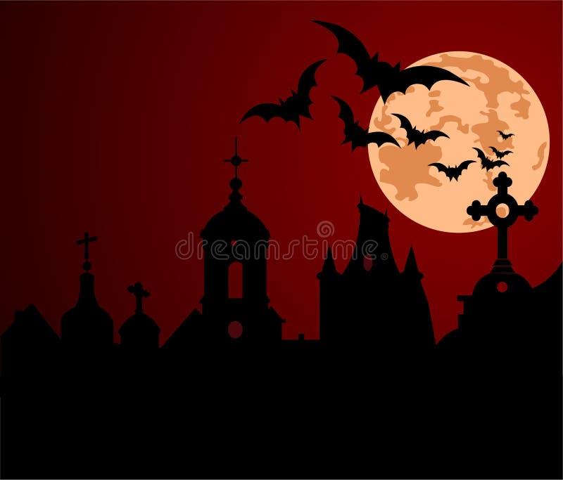 Ноча Halloween в городке иллюстрация штока