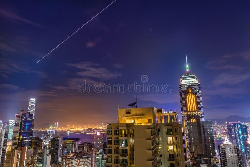 ноча Hong Kong городского пейзажа стоковые изображения rf
