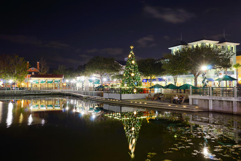 Ноча Kissimmee: украшение рождества стоковые фото