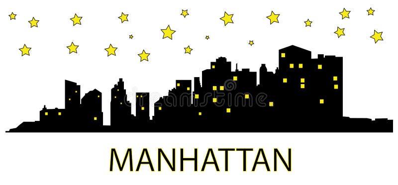 ноча manhattan иллюстрация вектора