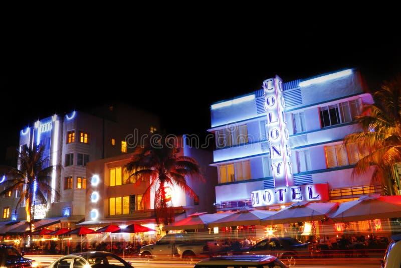 ноча miami пляжа южная стоковое изображение rf