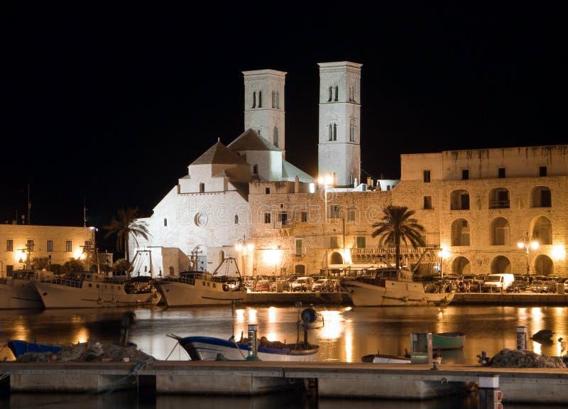 ноча molfetta собора apulia стоковая фотография rf