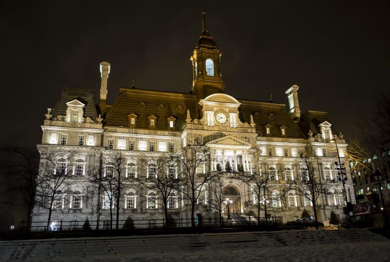 ноча montreal здание муниципалитет стоковые фото