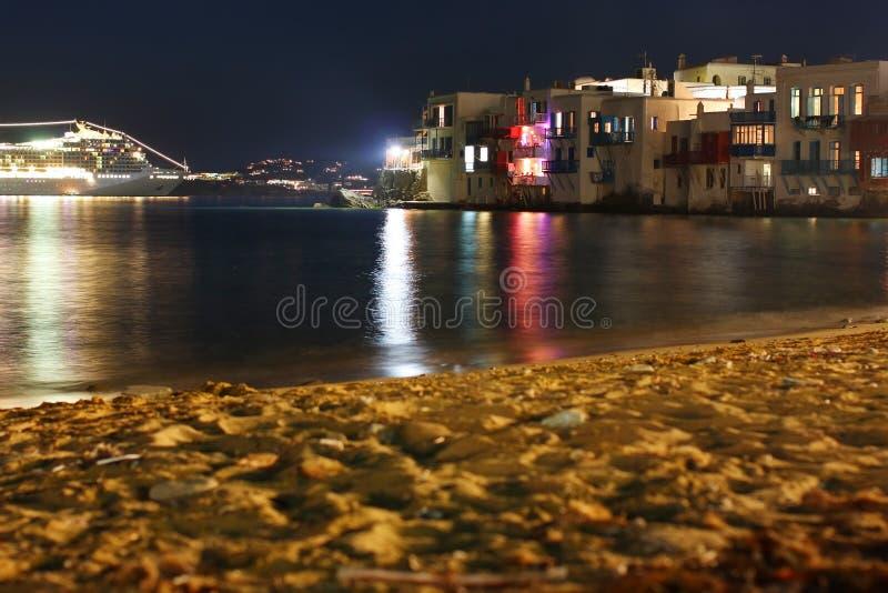 ноча mykonos стоковые изображения rf