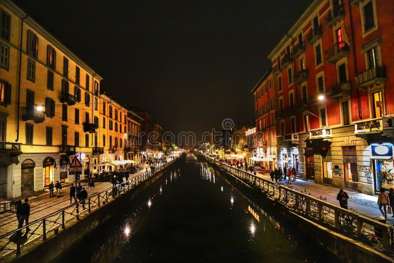 Ноча Navigli стоковые фото