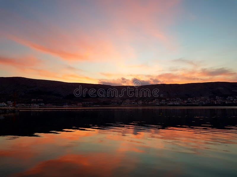 Ноча Pag в заходе солнца стоковое фото rf