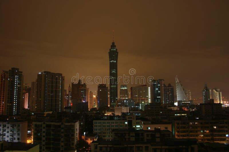 ноча shenzhen стоковые фотографии rf