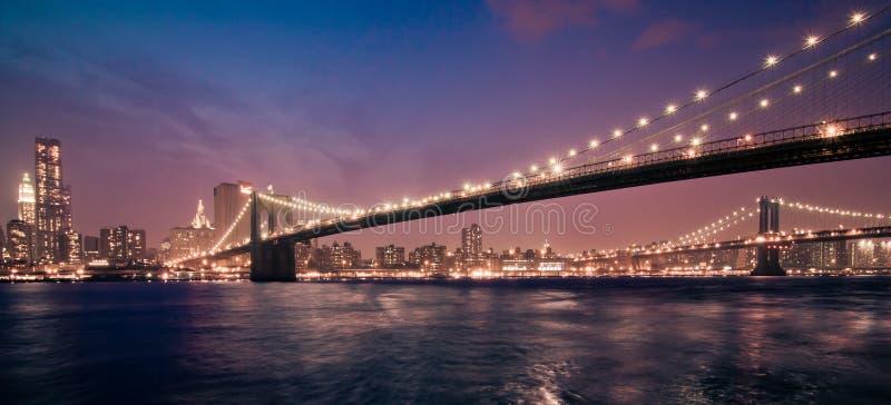 ноча york brooklyn моста новая стоковые фото