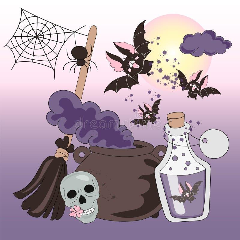 НОЧИ УЖАСА ХЕЛЛОУИНА иллюстрации вектора цвета хеллоуина установленные иллюстрация вектора