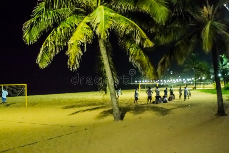 Ночная жизнь в пляже Косты da Прая, Vila Velha, положении EspÃrito Santo, Бразилии стоковое изображение